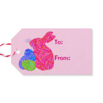 Pink Easter Bunny Easter Eggs Colorful Rabbit Fun Gift Tags