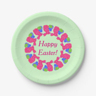 Pink Easter Bunny Easter Eggs Colorful Rabbit Paper Plate