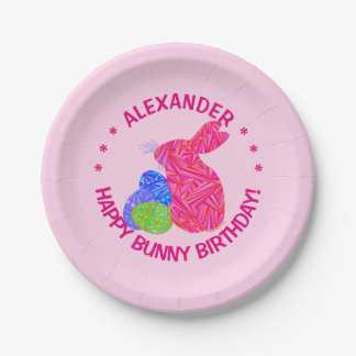 Pink Easter Bunny Easter Themed Birthday Party Paper Plate