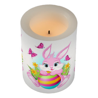 Pink Easter Bunny Flameless Candle