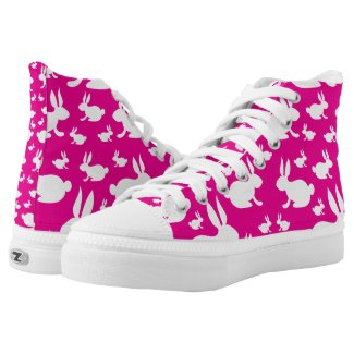 Pink Easter Bunny High-Top Sneakers
