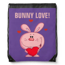 Pink Easter Bunny Holding Red Heart Drawstring Backpack
