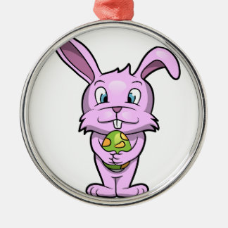 Pink Easter Bunny Metal Ornament