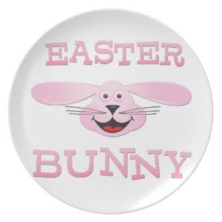 Pink Easter Bunny Party Plates