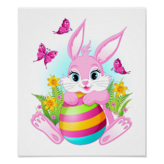 Pink Easter Bunny Poster