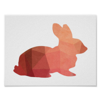 Pink Easter Bunny Silhouette Poster