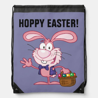 Pink Easter Bunny with Basket of Eggs Backpacks