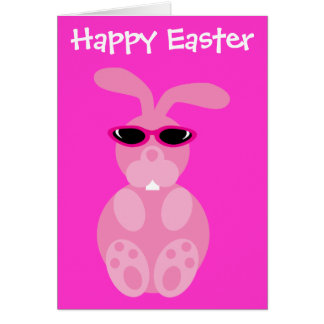 Pink Easter Bunny With Sunglasses Greeting Card
