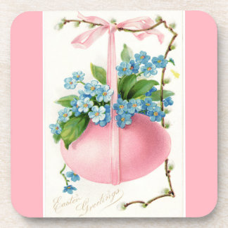 Pink Easter Egg and Flowers Coaster