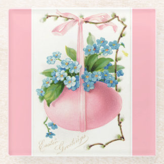 Pink Easter Egg and Flowers Glass Coaster