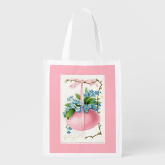 Pink Easter Egg and Flowers Reusable Grocery Bag
