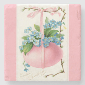 Pink Easter Egg and Flowers Stone Coaster