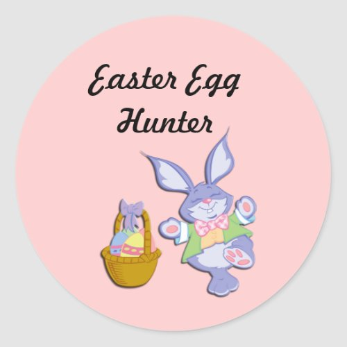Pink Easter Egg Hunter Bunny and Basket Stickers