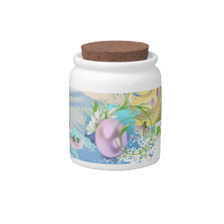 Pink Easter Eggs and snowdrops Candy Jar