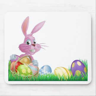 Pink Easter eggs bunny Mousemat