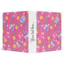 Pink Easter eggs, flowers and baskets 3 Ring Binder