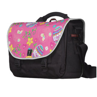 Pink Easter eggs, flowers and baskets Laptop Commuter Bag