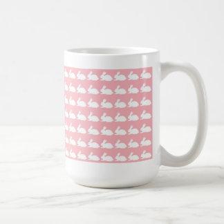 Pink Easter mug with bunnies