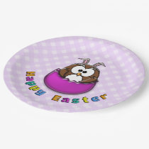 pink Easter owl - paper plates