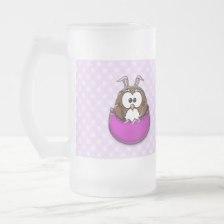 pink Easter owl - travel mug