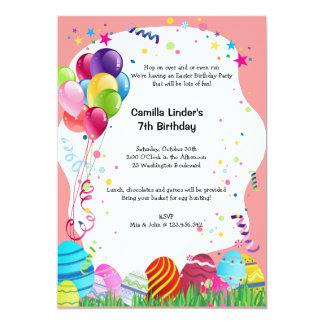 "Pink Easter Sunday Birthday Party Invites 5"" X 7"" Invitation Card"