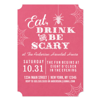 Pink Eat Drink and Be Scary Halloween Party Card