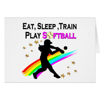PINK EAT, SLEEP, TRAIN, PLAY SOFTBALL DESIGN CARD