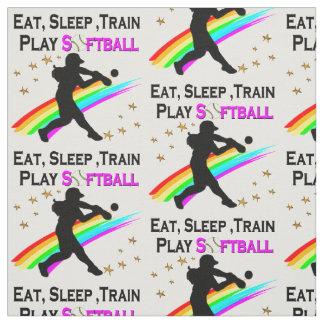 PINK EAT, SLEEP, TRAIN, PLAY SOFTBALL DESIGN FABRIC
