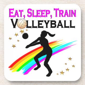 PINK EAT, SLEEP, TRAIN VOLLEYBALL BEVERAGE COASTER