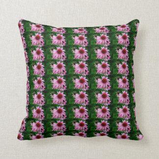 pink echinacea flower pattern pillow