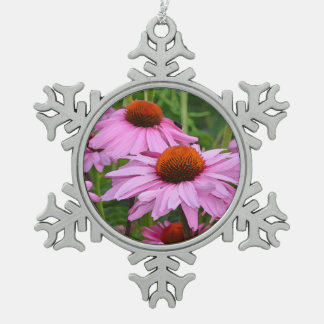 Pink echinacea flowers christmas ornament