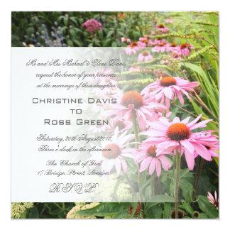"Pink echinacea garden wedding invitation 5.25"" square invitation card"