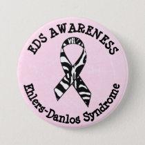 Pink EDS Awareness Ribbon  Button