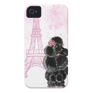 Pink Eiffel Tower and Black Poodle Case-Mate iPhone 4 Case