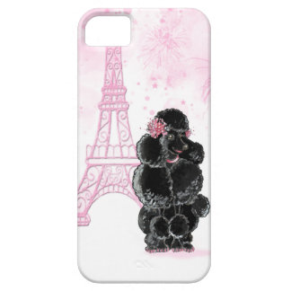 Pink Eiffel Tower and Black Poodle iPhone 5 Cases