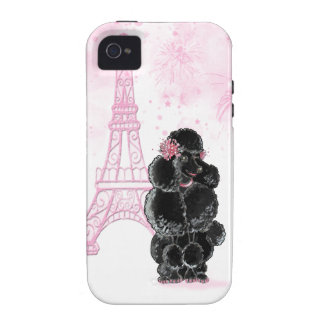 Pink Eiffel Tower and Black Poodle iPhone 4 Covers