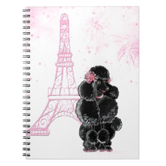 Pink Eiffel Tower and Black Poodle Spiral Notebook