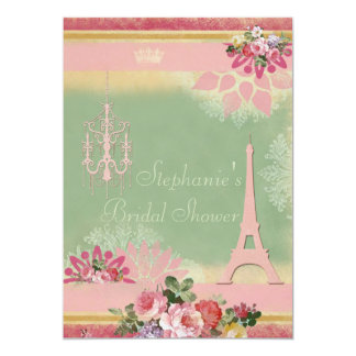 Pink Eiffel Tower and Chandelier Bridal Shower Card