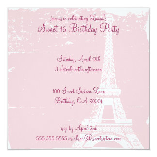 Pink Eiffel Tower Birthday Party Invitations