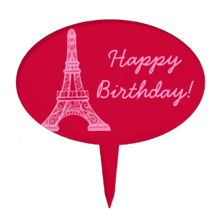 Pink Eiffel Tower Cake Topper