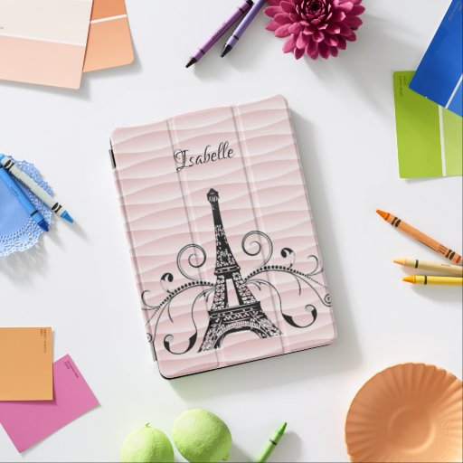 Pink Eiffel Tower Flourish iPad Cover