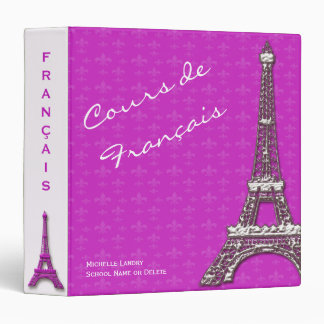 Pink Eiffel Tower French Class Vinyl Binders