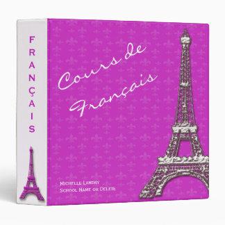Pink Eiffel Tower French Class Binder