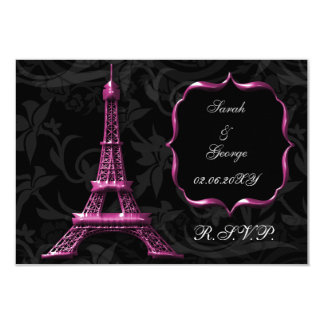 pink Eiffel tower french  rsvp standard 3.5 x 5 3.5x5 Paper Invitation Card