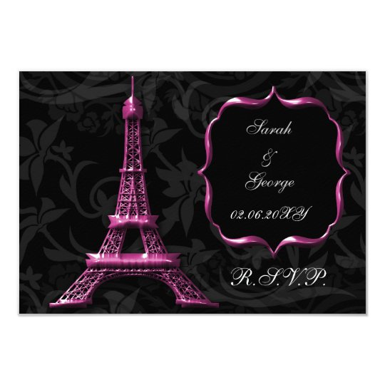 pink Eiffel tower french  rsvp standard 3.5 x 5 Card