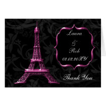 pink Eiffel tower French Thank You Card