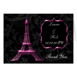 Pink Eiffel Tower Paris  Wedding Invitations