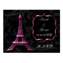pink Eiffel tower French Wedding rsvp Postcard