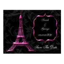 pink Eiffel Tower French wedding Save the Date Postcard