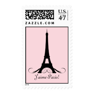 Pink Eiffel Tower J'aime Paris! Postage